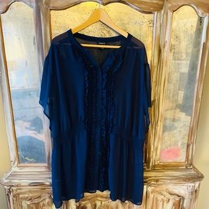 Torrid Navy Ruffled Blouse